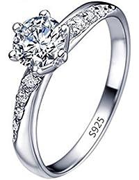 daliuing Anillo de Plata con Incrustaciones de Diamante, Elegante, para Mujeres y Niñas,