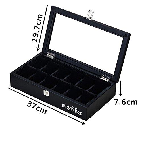 Top 12Slot Brand Wood–Boxen Mode Caffe 'sehen Storage Box mit Kissen und Schloss Uhr zeigt Schmuck Geschenkboxen it039 (Storage Box Serie)