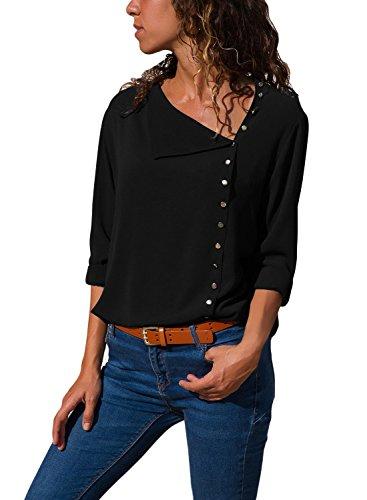 998620d5f1c861 Dokotoo Chemise Femmes Manches Longues Chemisier de Soie Tops Slim Elégante  Couleur Unie Fluide en Mousseline