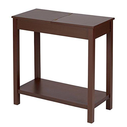 TRI Beistelltisch, Tisch mit klappbarer Tischplatte |Couchtisch Sesseltisch Sofatisch Wohnzimmertisch, Tisch mit Stauraum, Kolonialstil, 62 x 28 x 59 cm