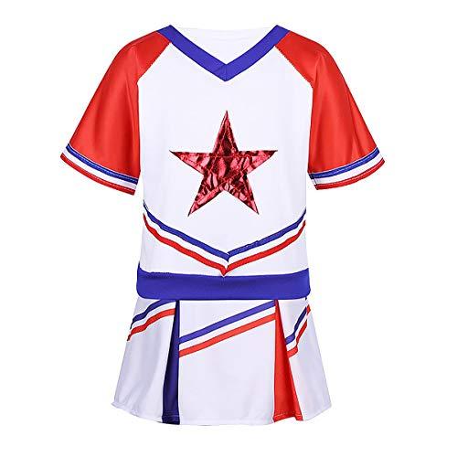 Yeahdor Enfant Fille Uniformes Pom-Pom Girl Ensemble Danse Gymnastique Costume High School Performance Haut et Jupe Sportwear 3-16 Ans Blanc&Rouge 4-5Ans