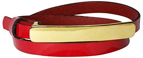 Rote Gürtel Skinny (FRONHOFER Gürtel 1,5 cm Lackleder Gürtel mit 8 cm langer goldener Gürtelschnalle | Rindsleder | Lackgürtel 17749, Größe:Bundweite 110 cm, Farbe:Rot)