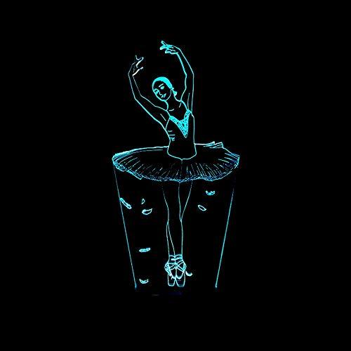 Ballerina-Mädchen 3D Nachtlicht LED-Touch-Fernbedienung Tänzerin 3D Atmosphäre Licht 7 Farbwechsel USB Kinder Schlafzimmer Lampe ()