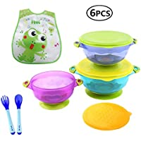 HBONE 3 Size Baby Bowls with Snap Tight Lid, Suction Base and Spoon Fork Baby Bib, Toddler Nonslip Spill-Proof Feeding Training Bowl Dinnerware - BPA Free