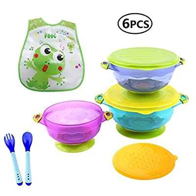 Emwel 3 Size Baby Bowls with Snap Tight Lid, Suction Base and Spoon Fork Baby Bib, Toddler Nonslip Spill-Proof Feeding Training Bowl Dinnerware - BPA Free  Wickelkinder
