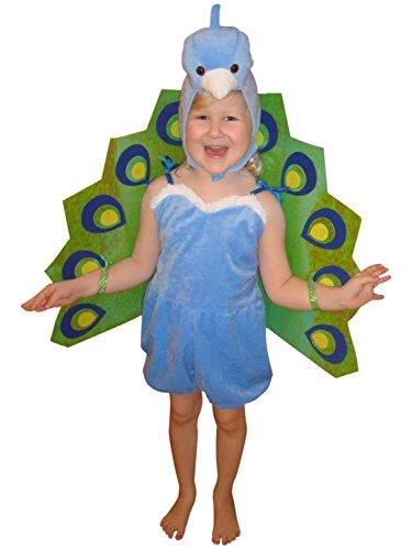 Seruna Pfau-Kostüm, F56/00 Gr. 104-110, für Kinder, Pfau-Kostüme Pfauen für Fasching Karneval, Alligator Klein-Kinder Karnevalskostüme, Kinder-Faschingskostüme, Geburtstags-Geschenk