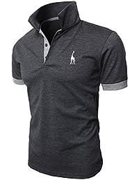 Polo Hombre Manga Corta Contraste Collar Polo Camisa Golf de tenis Camiseta Jirafa Glestore Blanco Azul Negro Gris Rojo M-XXL
