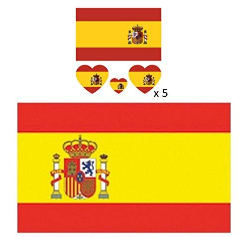 Freitag Abend Spanisch Fahnen Set: WM Spanischfahne 150 x 90 cm + Tattoos