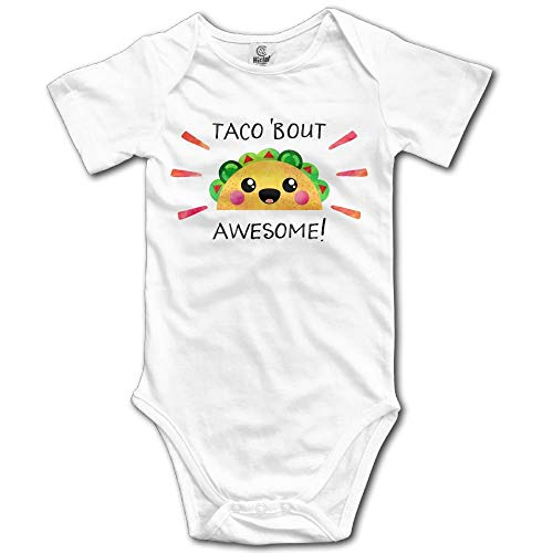 TKMSH Taco Bout Awesome Newborn Short Sleeve Jumpsuit Outfits White