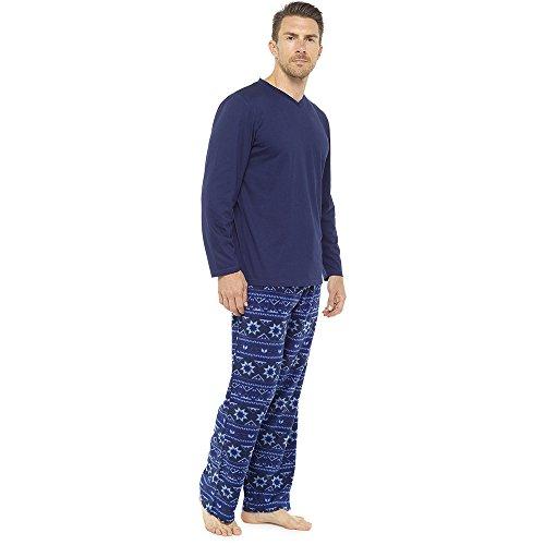 Mens Warm Jersey Oberteil & Vlies-böden Pyjama nachtwäsche pajama lounge wear Blue & Navy