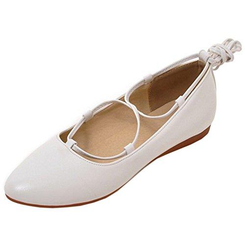 COOLCEPT Femmes Mode Appartements Dentelle Ballerines Robe Escarpins Chaussures Blanc