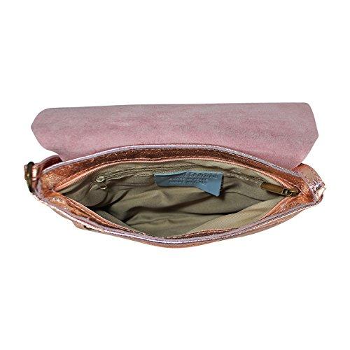 Gloop Damen Clutch echt Leder Tasche Abendtasche mit Kette Handtasche Umhängetasche Made in Italy 1.010.8 Rosa Metall