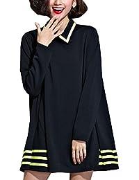 ELLAZHU Femme Robes chemise A-Line Lache Hem Col Poupée Colore Rayure GA44 A