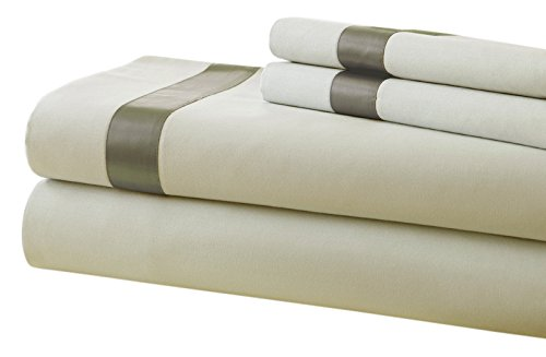 Pacific Coast Textilien T400-Bettlaken-Set mit Satin Band Saum, Baumwolle, Leinen/Taupe, Betten -