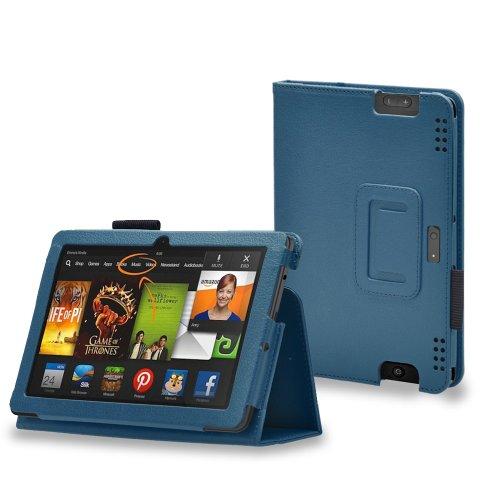 Invero–Slim Fit–Funda de piel con función de soporte para Amazon Kindle Fire HDX 8,92013, incluye protector de pantalla y lápiz capacitivo)