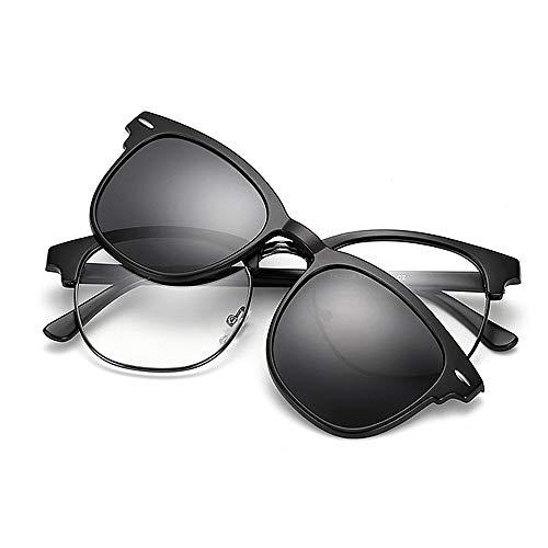 Easy Go Shopping Retro Style Sonnenbrille mit austauschbaren Gläsern für Männer Frauen Farbige Linse Unbreakable TR90 Rahmen Clip-on UV-Schutz Magische Sonnenbrille mit Magnet (Farbe : Grau)