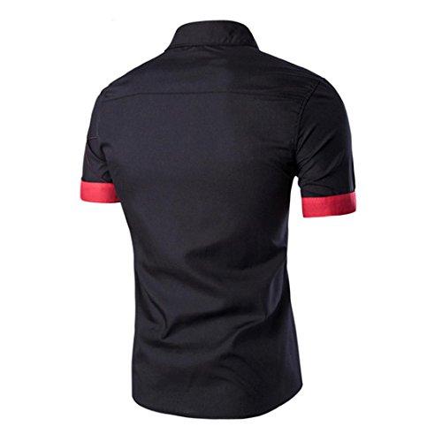 Ularma Hemd Herren Kurzarm Freizeit Kentkragen Slim Fit Shirt Linie Stil Schwarz
