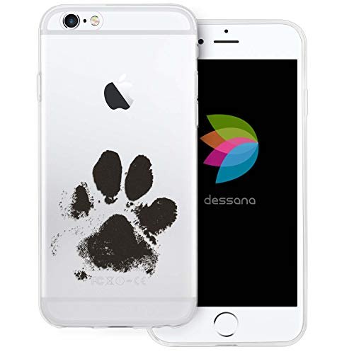 dessana Tier Pfoten Abdrücke Transparente Silikon TPU Schutzhülle 0,7mm dünne Handy Tasche Soft Case für Apple iPhone 6/6S Hunde Tatze