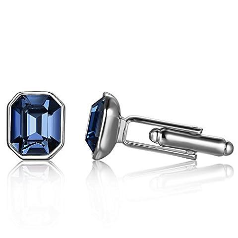 Depot Tresor Cufflinks for Men with Swarovski Crystal New Element Multi-coloured Deep-Sapphire Wedding Cufflinks