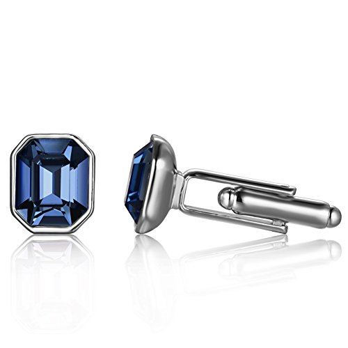 Price comparison product image Depot Tresor Cufflinks for Men with Swarovski Crystal New Element Multi-coloured Deep-Sapphire Wedding Cufflinks