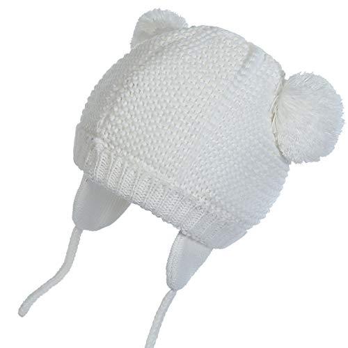 WELROG Unisex - Baby Mütze Beanie Strickmütze Kleinkind Warm Mütze Hut Winter Earflap (Weiß, 2-3 Jahre (41.9-52.8cm) / L)