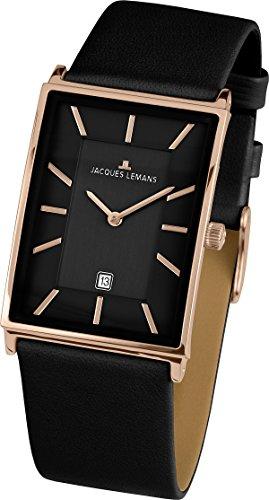 Jacques Lemans Herren Datum klassisch Quarz Uhr mit Leder Armband 1-1603H