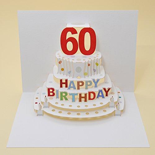 Forever Handmade Pop Up Karte zum 60. Geburtstag - edel und elegant mit verblüffender Wirkung beim Öffnen, da im Lasercut-Verfahren aus einem Blatt hochwertigen Kartons hergestellt. Designed und produziert von Ge Feng im walisischen Ross-on-Wye. GP048