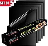 fourHeart Set di 5 Stuoie Antiaderenti per Grill Barbecue PTFE Carta da Forno Riutilizzabile Approvato FDA, griglie, cottura, 33 x 40cm, tagliabile, riutilizzabile