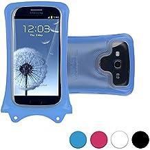 Funda universal sumergible DiCAPac WP-C1 para smartphones de Xiaomi Mi 2a / Mi 3 / Mi4 / Mi4 LTE / Mi 4i en Azul (Sistema de sujeción con velcro doble; protección certificada bajo el agua IPX8 hasta 10 m de profundidad; flotadores incorporados que protegen y sirven para flotar; objetivo Super Clear de policarbonato; asa para el cuello incluida)