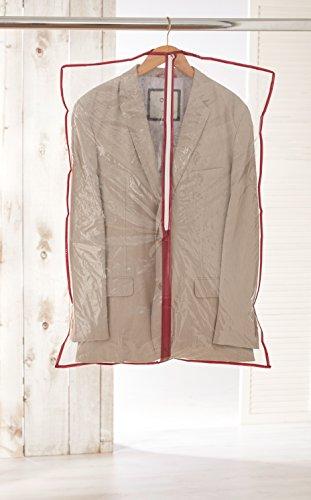 axentia Kleidersack, Kleiderschutzhülle zum Aufbewahren und Ordnen von Kleidungsstücken, Staubschutz transparent, Kleiderhülle mit Reißverschluss, ca. 60 x 92 cm, rot