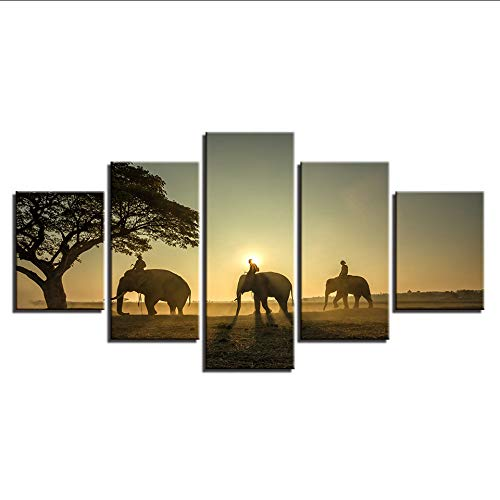 hhlwl Imágenes de lienzo Modular Home Decor 5 Unidades Elefantes Pinturas Arte...