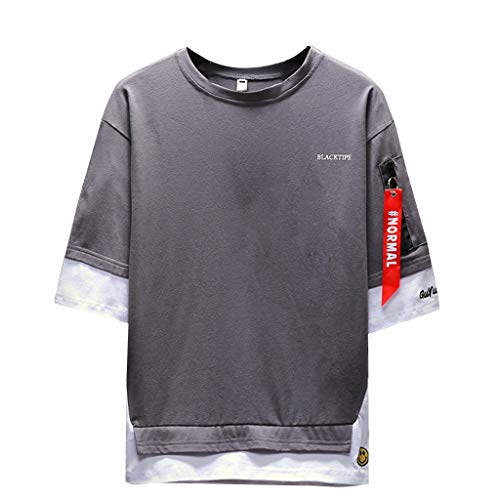 Große Größen T-Shirt für Herren/Skxinn Männer Gefälschte Zwei Kurzarm Rundhals Vintage Slim Fit Tops, Sommer Oversize Casual Lose Pullover Hemd Blouse Sport Blusen M-5XL Reduziert(Dunkelgrau,XL)