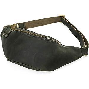 Maletín de Negocios de Cuero Vintage para Hombres Bolsa de portátil de 13″Bolsa de Ocio Crazy Horse (Color : Green, Size : 37x14cm)