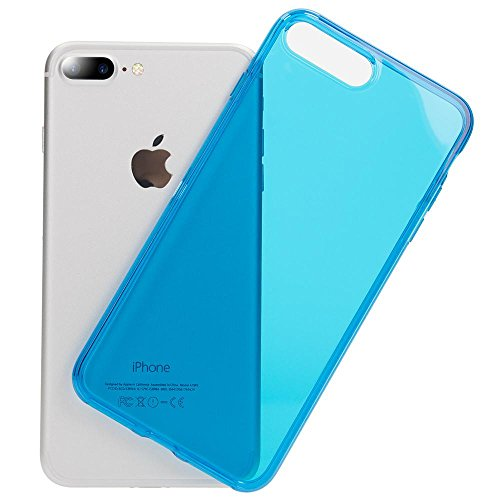 iPhone 8 Plus / 7 Plus Cover Custodia Protezione di NICA, Ultra-Slim Case Protettiva Trasparente Morbido Cellulare in Silicone Gel, Gomma Clear Bumper Sottile per Apple iPhone 7+ / 8+, Colore:Blu Blu