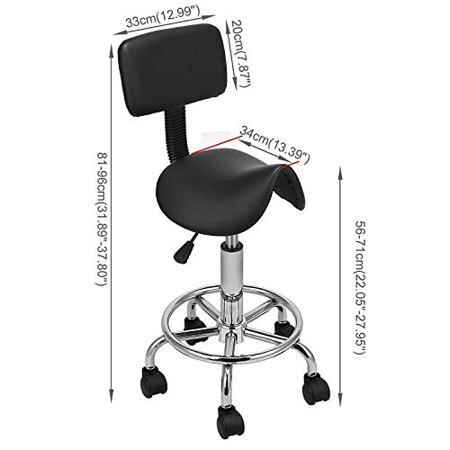 CWJ Praktischer Stuhl-Sattel-Salon-Massagestuhl mit Rückenlehne Verstellbarer Schwenker Ergonomischer Hocker für Friseurmaniküre - Rückenlehne Sattel-hocker Mit