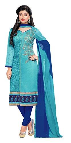 Khushali Presents Embroidered Chanderi Dress Material(Sky Blue,Dark Blue)