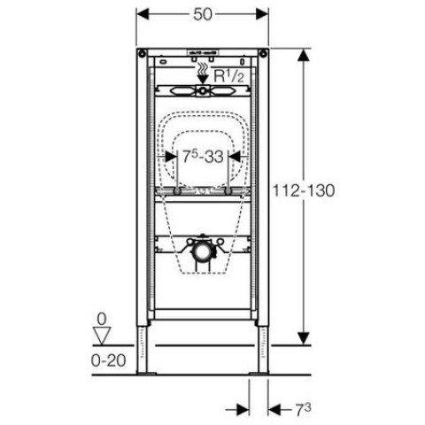 Geberit Duofix Urinal, 112-130 cm, für AP-Druckspüler 111.686.00.1