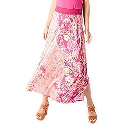 Smash! Falda Estilo Romántico con Estmapado Floral y Bohemio Falda Maxi con Cinturilla Elastica para Mujer de Verano Skirt Tribu