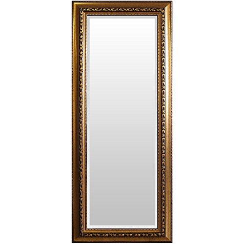 XXL Wandspiegel Barspiegel Flurspiegel Garderobenspiegel Frisierspiegel Facettenspiegel Spiegel mit Facettenschliff + Verzierungen 170x70cm - Gold