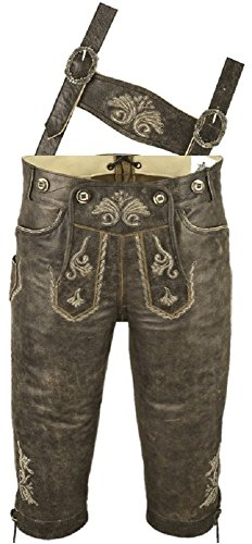 Kniebundhose Leder Antik Nappa- Trachtenlederhose Herren- Damen Kniebundlederhose -Trachten Lederhose mit Träger in antik braun Trachtenhose Knielang aus echt Leder (50)