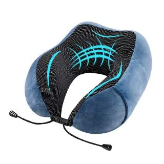 Travel Pillow - AmazeFan Luxury Memory Foam Neck Pillow - Magnetic Therapy Fabric - Removable & Washable Plush Velour Cover - Sleep Mask, 2 Earplugs and Travel Bag - Ideal for Travelling, Airplane