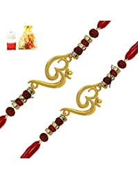 Mahi Men's Gold Plated Combo of Twince Om Rudraksha Designed Rakhis for Brothers(Gold, CO1104642G)
