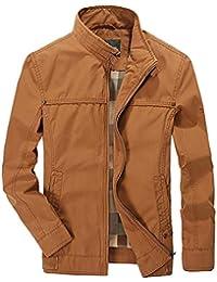 Karmder Cappotti Giacche Invernali per Uomo Primavera Autunno Casual 100% Cotone  Khaki Business di Mezza 969d9f65329