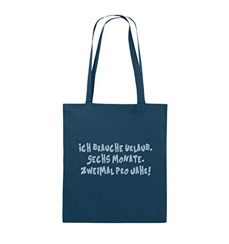 Comedy Bags - ICH BRAUCHE URLAUB - SECHS MONATE - Jutebeutel - lange Henkel - 38x42cm - Farbe: Schwarz / Pink Navy / Eisblau