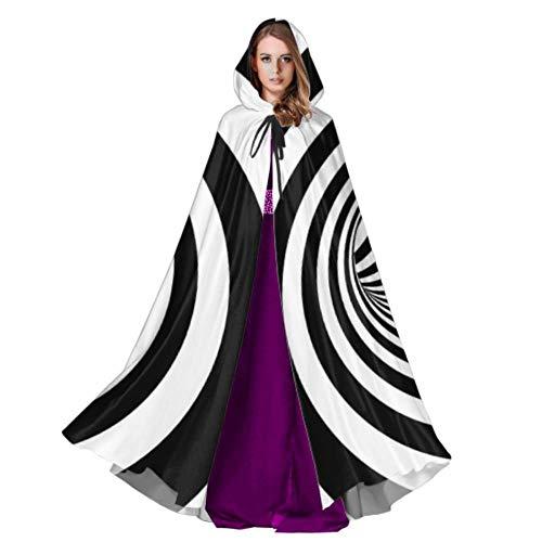 Rtosd Abstrakte Illusion Schwarz Weiß Mädchen Mantel Mit Kapuze Herren Kapuze Mantel 59 Zoll Für Weihnachten Halloween Cosplay (Halloween Illusion Kostüm)