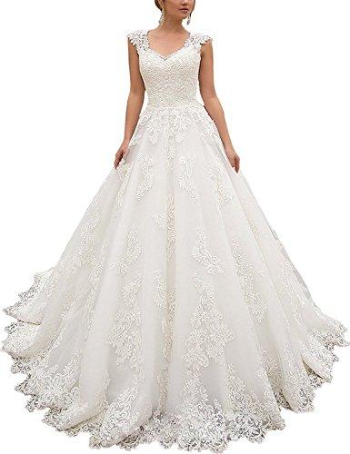 HotGirls Frauen Lace Wedding Dress Keyhole lange eine Linie Brautkleid (Elfenbein, 56)