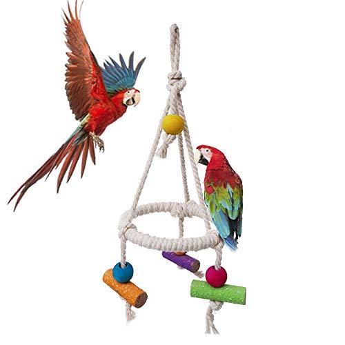 TEEPAO Columpio para Loro, Cuerda de algodón para pájaros, Jaula de Juguete, Soporte para Columpio, Juguete para Masticar para Loros, periquitos, pájaro, Guacamayo Gris Africano, etc.