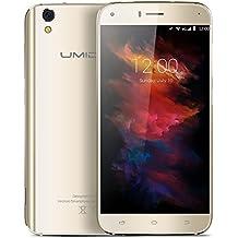 "UMIDIGI Diamond X - Smartphone libre 4G Android 6.0 Marshmallow (Pantalla HD 5.0"", Dual Sim, MT6737 Quad-core 1.3GHz, 16GB de memoria interna, 2 GB de RAM, cámara de 8Mp/2MP, Drop Resistance, WiFi, GPS, OTG), color dorado"