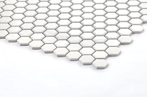 1qm Hexagon Struktur Keramik Mosaik Fliesen Matte In Weiß Mt0089 M2