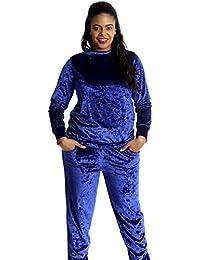 0311fecdf6e Nouvelle Collection New Ladies Plus Size Plain Velvet Tracksuit Warm  Sweatshirt Trousers Pocket Stylish